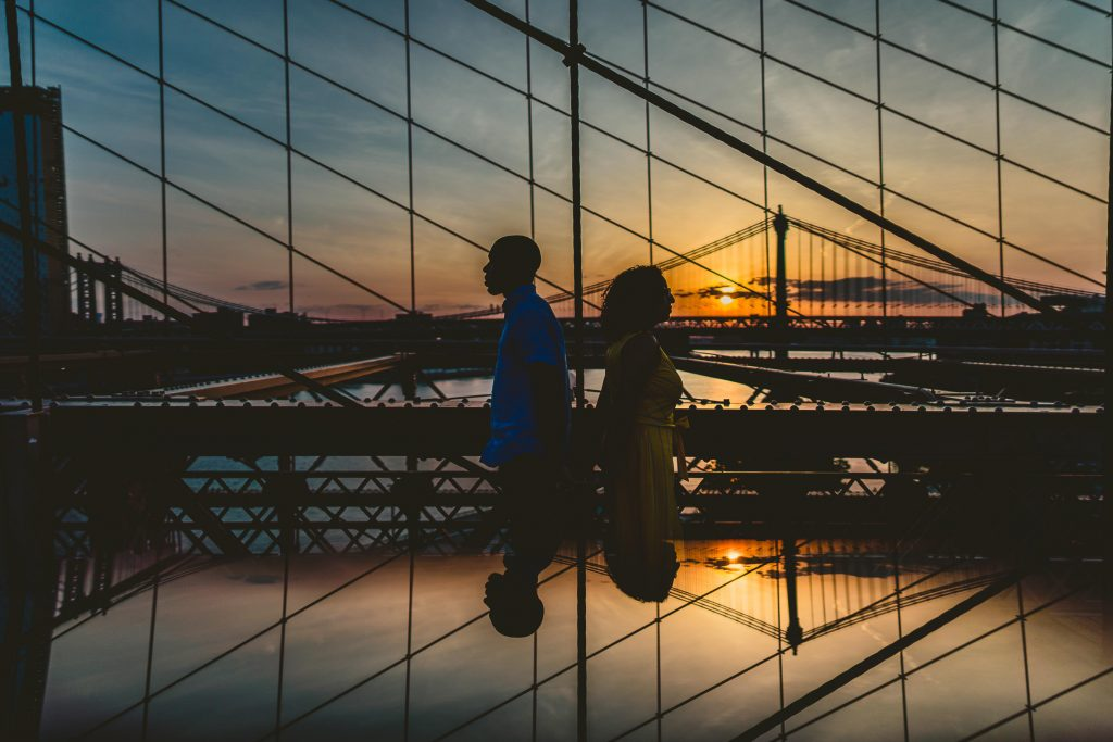Williamsburg Brooklyn Destination Wedding Photographer, Brooklyn Bridge, Brooklyn Bridge Engagement Photograph, Brooklyn Bridge Engagement Photography, Brooklyn Wedding Photographer, Creative Wedding Portrait, Reflection Wedding Photograph