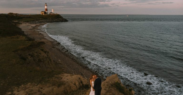 360 East At Montauk Downs Wedding Video Bride And Groom At Camp Hero With Montauk Lighthouse
